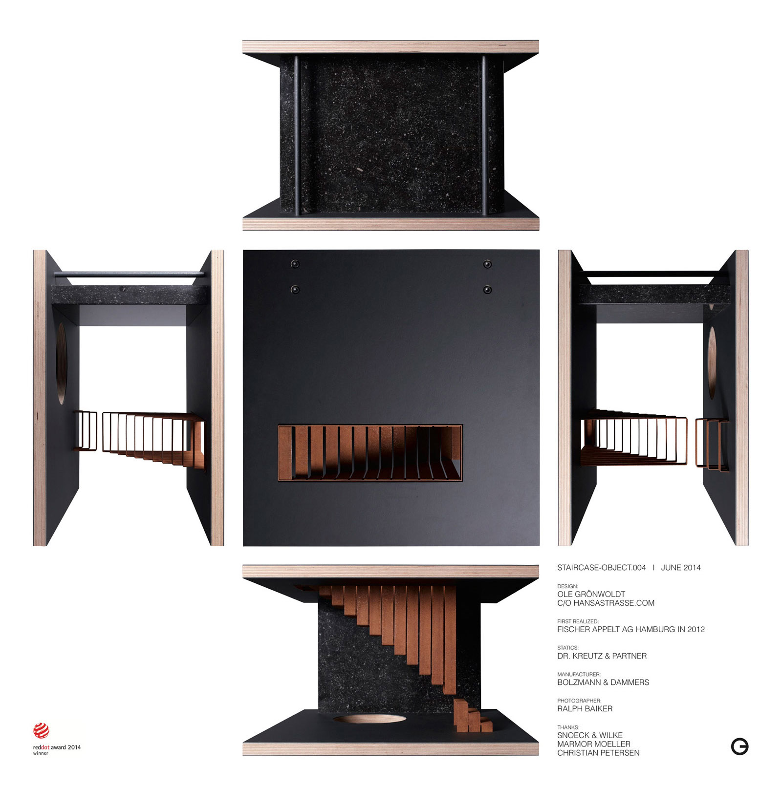 Treppenmodell gerostetes Stahlblech Red Dot Winner Ole Grönwoldt